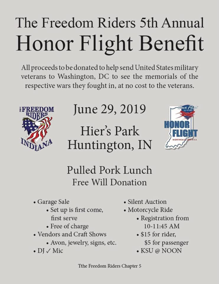 5th Annual Freedom Rider's Honor Flight Benefit Huntington,IN