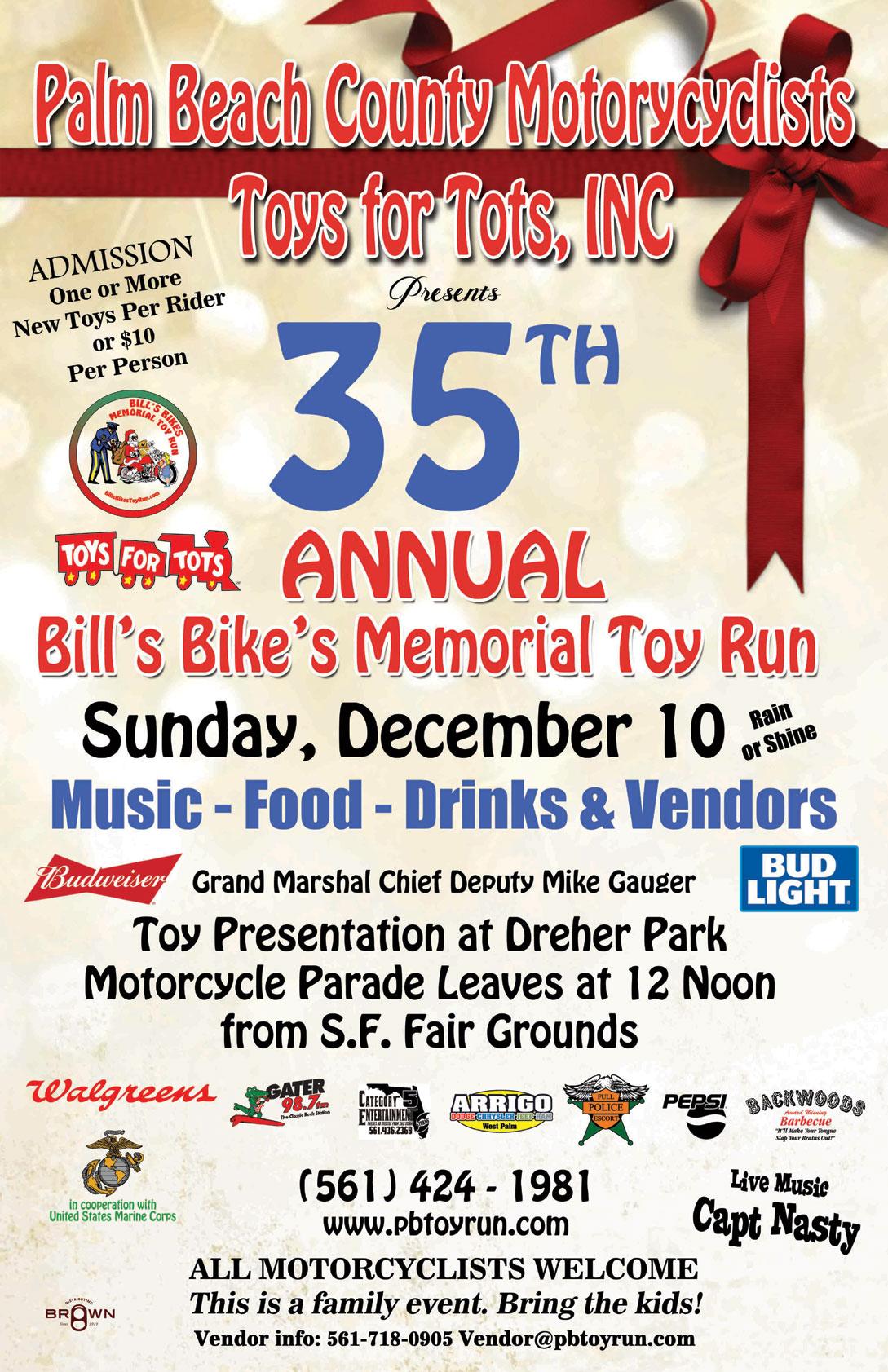 35th Annual Bill's Bikes Memorial Toy Run WPB,FL