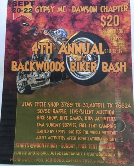 4th Annual Backwoods Biker Bash Axtell,TX
