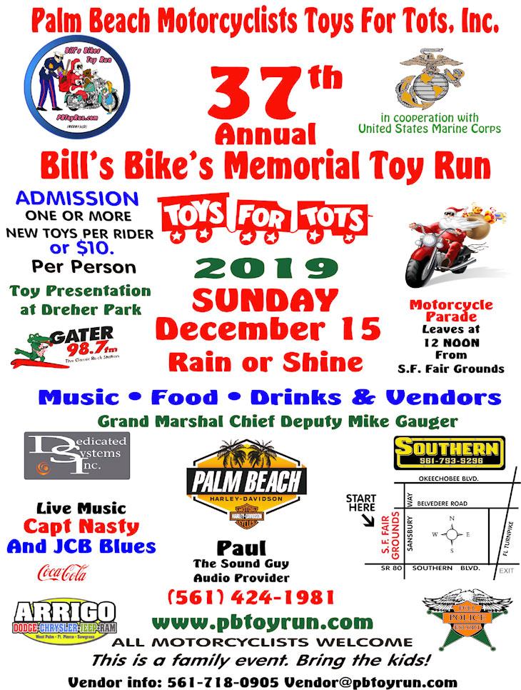 37th Annual Bill's Bikes Memorial Toy Run WPB,FL