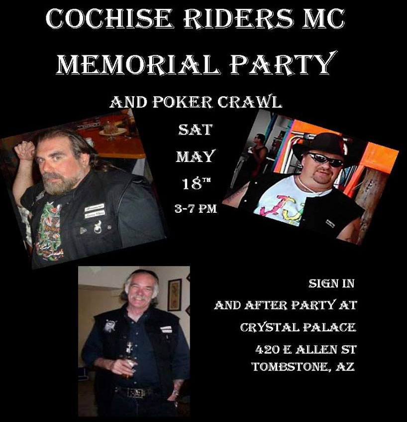 Memorial Party and Poker Crawl 2019 Tombstone,AZ