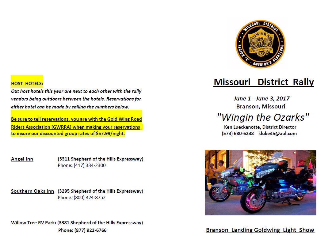 Wingin the Ozarks - GWRRA Missouri District Rally Branson,MO