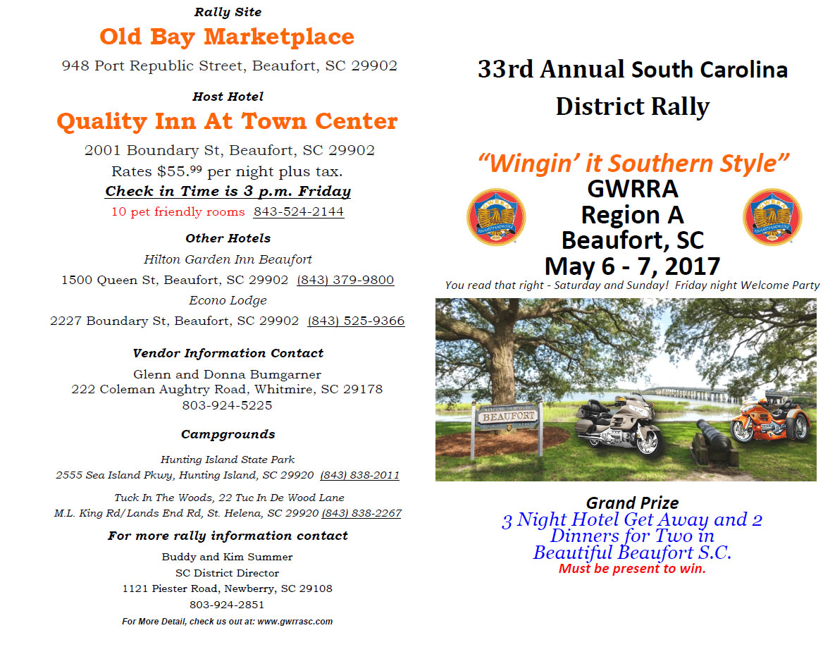 33rd Annual GWRRA District Rally - Winging it Southern Style Beaufort,SC