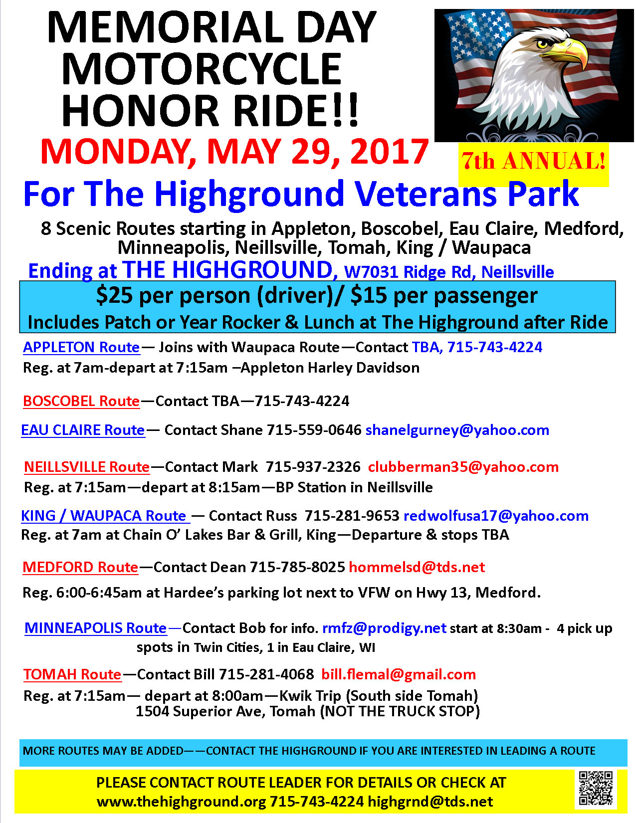 7th Annual Highground Memorial Day Motorcycle Honor Ride  Neillsville,WI