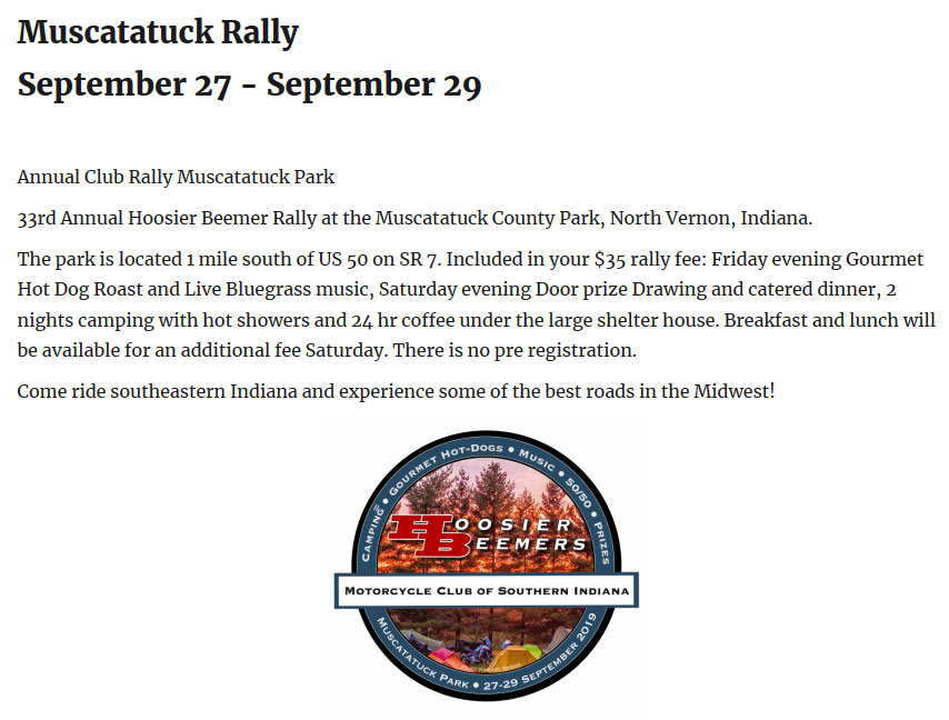 34th Annual Hoosier Beemer Rally North Vernon,IN