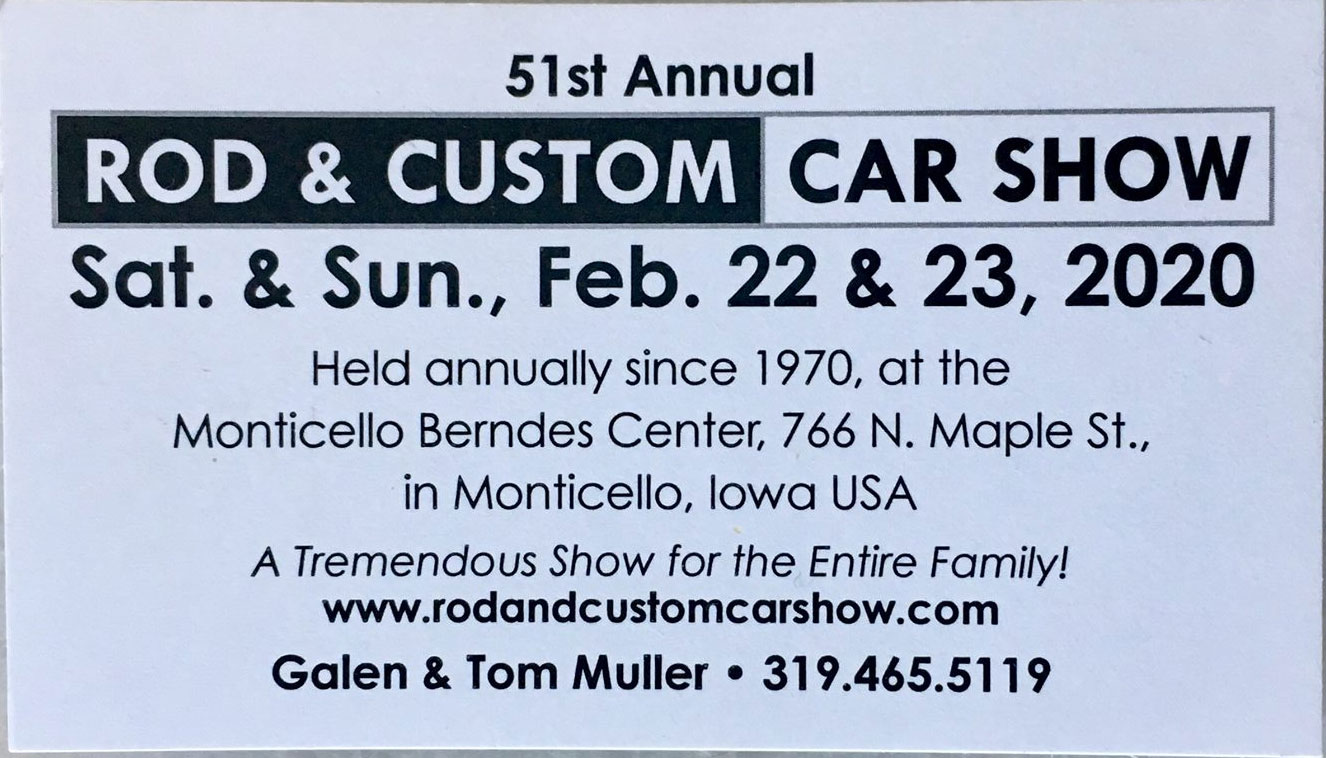 51st Annual Rod, Custom Car & Motorcycle Show Show Monticello,IA