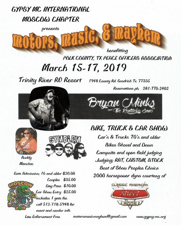 Motors, Music & Mayhem 2019 Goodrich,TX